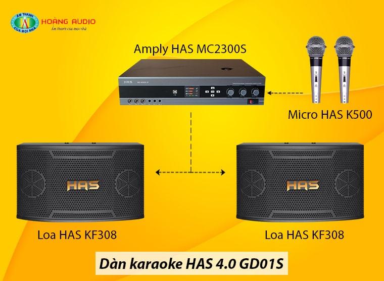 Đấu nối dàn karaoke HAS 4.0 GD01S