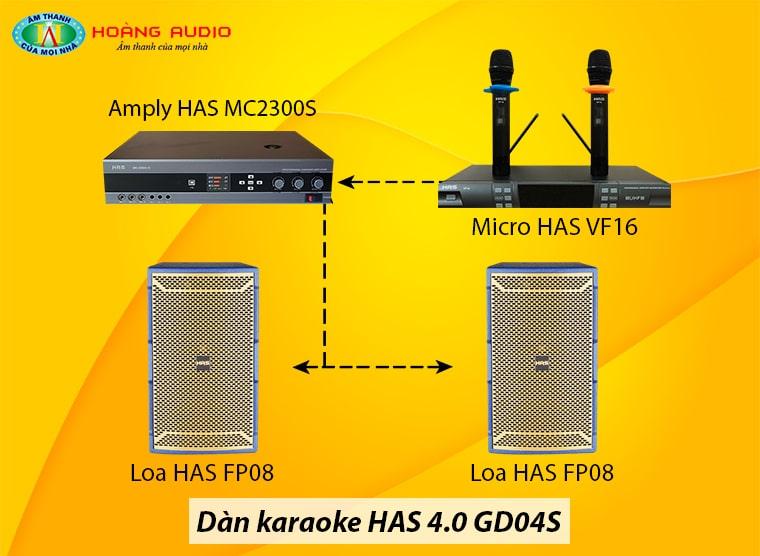 Đấu nối Dàn karaoke HAS 4.0 GD04S