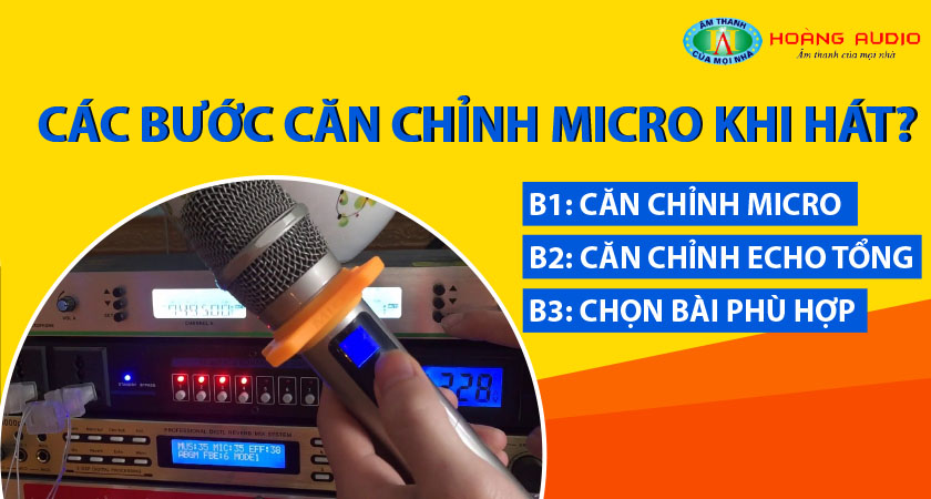 Sau đây, là các bước căn chỉnh cơ bản cho Micro khi hát Karaoke :