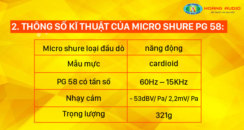 Thông số kĩ thuật của mic Shure PG 58